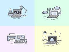 Traveling laptop by Alla Kudin  for Tubik Studio