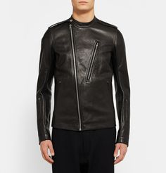 <a href='http://www.mrporter.com/mens/Designers/Rick_Owens'>Rick Owens</a>' biker jacket is a slick representation of the label's indubitably cool aesthetic. Crafted from exceptionally soft black grained-leather, this piece is kitted with an array of practical pockets and finished with an asymmetric zip fastening. It's cut in a trim silhouette that doesn't feel too restrictive and is fully lined for comfort. Wear yours with slim jeans or sweatpants.