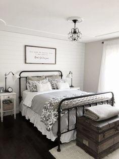 Modern Farmhouse Bedroom Decor Shiplap Accent Wall, Black Iron Bed on Home Inteior Ideas 7697 White Plank Walls, Grey Walls, Black Iron Beds, Modern Farmhouse Bedroom, Rustic Farmhouse, Modern Bedroom, Farmhouse Ideas, Bedroom Black, Bedroom Rustic