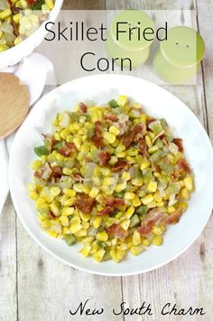Who says a vegetable side dish recipe has to be boring? Skillet Fried Corn is easy to make and is packed with lots of great flavors like BACON! This is the perfect side dish recipe for everything from chicken breasts to hamburgers. Easy Chicken Recipes, Veggie Recipes, Easy Dinner Recipes, Corn Recipes, Delicious Recipes, Delicious Dishes, Simple Recipes, Amazing Recipes, Appetizer Recipes