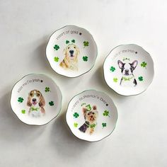 Just when you thought man's best friend couldn't be any better, these sweet, hand-painted pups bring a little luck o' the Irish to your table.