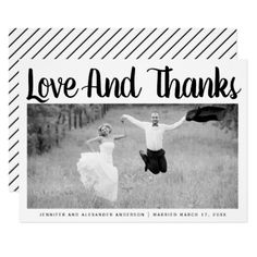 Bold typography Thank You wedding photo Card - black and white gifts unique special b&w style