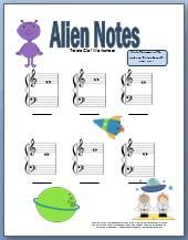 Alien notes treble clef worksheet. Boys seem to really like this one. Girls do too.