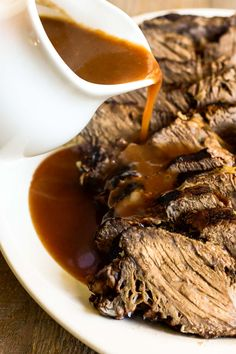 Authentic German Sauerbraten recipe from my grandfather's kitchen ~ make this braised chuck roast on the stove, in the oven or in the crock pot! German pot roast is a wonderful holiday main course. #authentic #traditional #German #potroast #beef #chuckroast #Thanksgiving #Christmas #rumproast #roundroast #bottomroast Pot Roast Recipes, Crockpot Recipes, Cooking Recipes, Braiser Recipes, German Pot Roast Recipe, German Recipes, German Desserts, Authentic German Sauerbraten Recipe, One Pot Meals