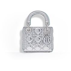 METALLIC LEATHER NANO LADY DIOR BAG ❤ liked on Polyvore featuring bags, handbags, white leather bag, genuine leather bags, leather purses, leather handbags and 100 leather handbags