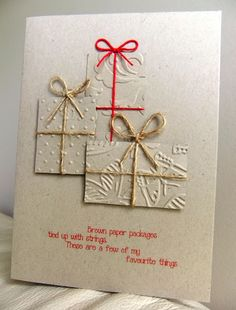 Embossed packages card
