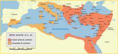Mapa del Imperio Bizantino en el año 565