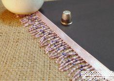 Lilac Pearl Beaded Fringe MA534 | Mokshatrim | Exotic trims lace and haberdashery Pink Satin, Pale Pink, Lilac, Purple, Pearl Beads, Pearl Earrings, Beaded Trim, Semi Transparent, Fringe Trim