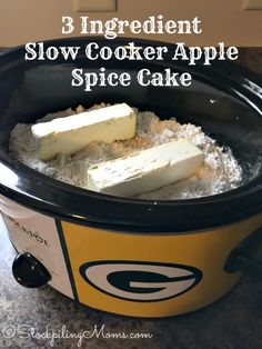 3 Ingredient Slow Cooker Apple Spice Cake is the BEST crockpot dessert recipe for Fall!