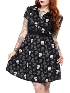 "Women's ""Lust For Skulls"" Rizzo Dress by Sourpuss Clothing (Black)"