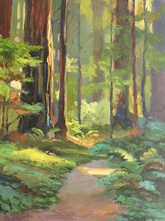 Redwood Walk by Sterling Hoffmann ~ x Watercolor Landscape, Abstract Landscape, Landscape Paintings, Watercolor Paintings, Paintings I Love, Urban Landscape, Painting Art, Forest Painting, Pastel Art