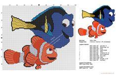 Disney Finding Dory Dory and Nemo free cross stitch pattern 97x86