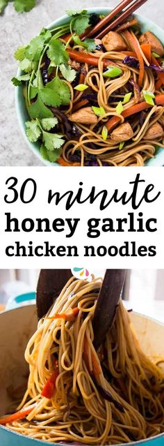 These EASY Honey Garlic Chicken Stir Fry Noodles are ready in less than 30 minutes for a fresh and flavorful family dinner! One of our absolutely favorite quick and easy recipes. Made with plenty of fresh vegetables, lean chicken breast, spaghettini and a super easy homemade stir fry sauce. This is both healthy AND delicious!
