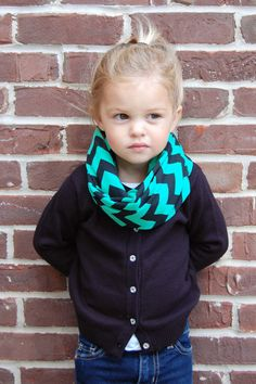 Green and Black Chevron Tube Infinity Scarf by BundleUpBuddy, $12.00