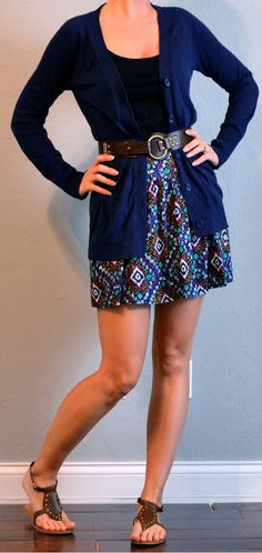 outfit post: ikat skirt, navy long cardigan, gladiator sandals | Outfit Posts Dynamic