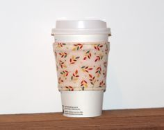 New to Chockrosa on Etsy: Fabric Coffee Cozy - Coffee cup sleeve - Eco friendly cozy - Stocking stuffer - Drink Sleeve - Hot pink lining - Reversible