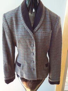 Ralph Lauren Thick BROWN & Green Wool Houndstooth Women Vintage Blazer SZ 8
