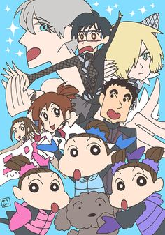 katsuki_yuuri_makkachin_nishigoori_axel_nishigoori_loop_nishigoori_lutz_and_others_crayon_shin_chan_and_yuri_on_ice_drawn_by_chairo