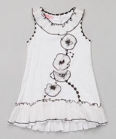 Look at this #zulilyfind! White Floral Ruffle Dress - Toddler & Girls by Beetlejuice London #zulilyfinds