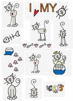 pali - Leslie - Picasa Web Albums I love my cat sketches Doodle Drawings, Doodle Art, Easy Drawings, Doodles, Stick Figures, Cat Drawing, Learn To Draw, Rock Art, Cat Art