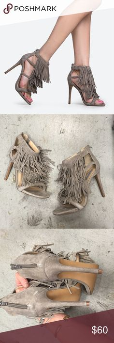 "Steve Madden taupe fringe ""fringly"" heels Never worn new in box fringe heels. Fit true to size, genuine suede. Really neutral color! Steve Madden Shoes Heels"