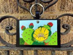 Key fob with cactus leatherarts.etsy.com