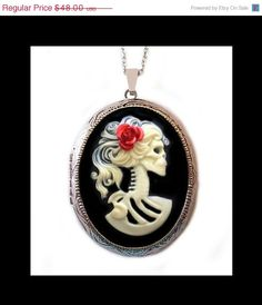 Skeleton Cameo Locket Necklace  Ivory Lolita by couturebylolita, $33.60