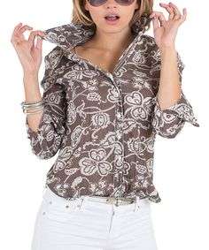 Brown Bali Paisley Button-Up