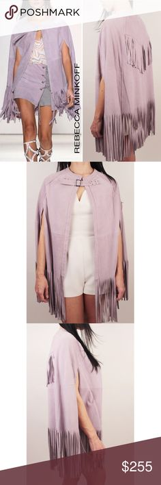 Rebecca Minkoff Suede Fringe Poncho Boho Cape O/S Rebecca Minkoff Fringed Suede Agave Cape Purple Lavender  This is an amazing statement piece that will be great to have in your wardrobe! Festival, Weekend, Rodeo, Everyday, whereever you want! This is Boho sophistication at its finest! Super soft and luxurious. Retails: $798 Size: One Size Fits All Material: Suede Leather Actual Cape for sale is on Photos  #1 (Right Side),  #2 - 7, #8 label and care tag. WT 1.0; 376 Rebecca Minkoff Jackets…