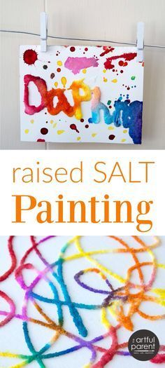 Raised salt painting is an all-time favorite kids art activity that is loved by all ages from toddlers on up. Click for the full tutorial and a video of this simple and fun art project. (This can be done to make holiday art, too! Try spider webs or Jack-o-lanterns for Halloween; stars and Christmas trees for Christmas.)