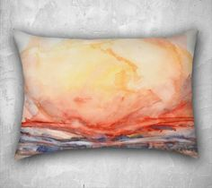 If you keep the fish hanging, then this one would look good. Again, see if she can make it in a long, low rectangle.   Rectangular pillow. Cushion cover with fine art print. Bright orange, earth tones and blue, watercolor. Rectangle decorative cushion