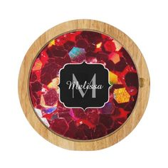 SOLD! Red abstract mosaic shiny glitter pattern Monogram Cheese Board by #PLdesign #RedMosaic #SparklesGift