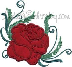 Rose 3 from Elegant Roses Applique.   #machineembroidery #applique #rose #floral