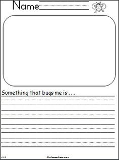 "Free Spring writing activity.  Students write about something that really ""bugs"" them and draw a picture."