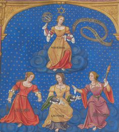 first half of the 16th century (1536) France?    Genève, Bibliothèque de Genève    Ms. fr. 167:  Introduction to the Cabala, dedicated to King Francis I of France by Jean Thenaud    fol. 77v - Necessity holding an armillary sphere, below her the three Fates (Atropos, Lachesis and Clotho)    http://www.e-codices.unifr.ch/en/list/one/bge/fr0167