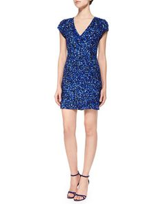 T8YVS Parker Black Serena Short-Sleeve Sequined Silk Cocktail Dress