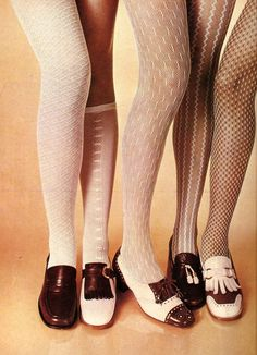 1960's shoes and tights. I remember the comments about the 'net curtain' tights!