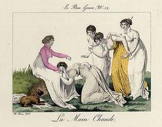 Yellow sleeveless dress  Le Bon Genre. Le Bon Genre 1803-1931 La Main Chaude Play (Paumele) 19th Century Costumes