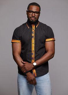 Tops - Zaire Button-Up African Print Trim Shirt (Tan Kente/Black) Modern African Clothing, African Print Fashion, Ethnic Fashion, Men's Fashion, African Print Shirt, African Shirts, Mens Designer Shirts, Kente Styles, African Attire