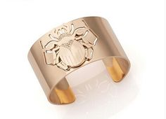 Chic Rose Gold Plated Cuff Bangle, Beetles, Rose Gold