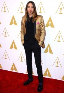 Jared Leto Wears Saint Laurent Gold Blazer at Oscars Nominees Luncheon | UpscaleHype