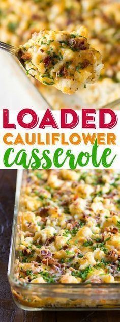 Loaded Cauliflower Casserole Recipe Cheesy Cauliflower Casserole Baked Cauliflower Dinner Easy Cauliflower Casserole Use smoked beef for muslim! Veggie Dishes, Food Dishes, Dinner Dishes, Hot Veggie Side Dish, Keto Side Dishes, Keto Cauliflower Casserole, Keto Casserole, Paleo Casserole Recipes, Baked Cauliflower Whole