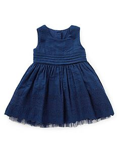 Navy 2 Piece Pure Cotton Shiffly Embroidered Dress with Knickers