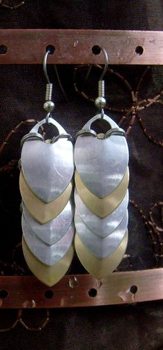 Holy Light Silver and Gold Dragonscale Dangle Earrings via https://www.etsy.com/shop/AndraCassidy