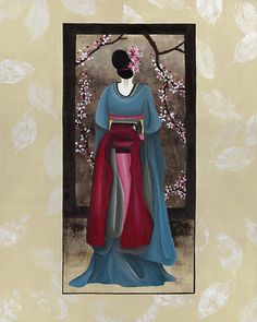 Geisha : Japanese Art by soniei Japanese Geisha, Japanese Art, Geisha Art, Memoirs Of A Geisha, Blue Kimono, After Life, Cherry Blossom Tree, Art Prints For Sale, Japanese Painting