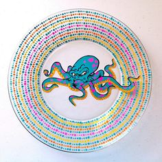 Octopus Dinnerware - Fathers Day is right around the corner. Give your Pops one of these bad ass nautical hand painted graffiti style Octopus plates or purchase a set for your bachelor pad. These are food safe and can be used as dinnerware or as art.
