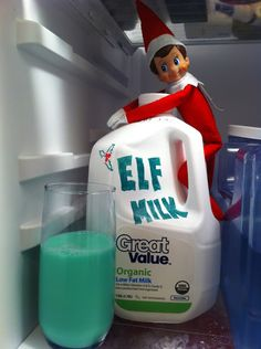 21 Easy, Hassle-Free Elf On The Shelf Ideas. Cute but how do you get the milk out of the fridge without touching the elf?