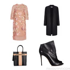 Ootd Idea Featuring Biyan Dress Tuxedo Coat Casadei Ankle Booties And Grey Purse From January 2016 #outfit #look