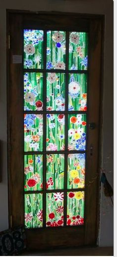 Fused glass door