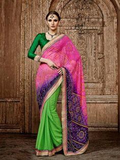 Pink Purple Green Bandhni Print Partywear Saree